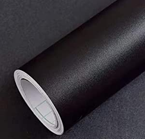 "Yancorp Matte Black Wallpaper Plain Vinyl Film Self-Adhesive Shelf Liner Drawer Peel-Stick Countertop Removable (16""x78.7"", Black)"