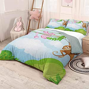 prunushome Nursery Bedding Duvet Cover SetMonkey Swinging with The Kid Baby Clothes Chimpanzee Jungle Joy Togetherness Set-(1Comforter Cover 2Pillow Shams) Green Brown Pink Full