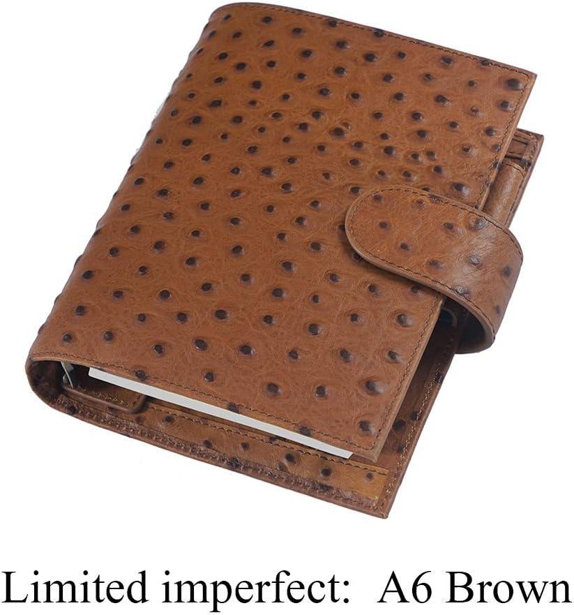 PR Limited Imperfecta Anillos de Cuero Genuino Cuaderno A6 Planificador de Grano de la Avestruz Organizador Diario Sketchbook Agenda con Bolsillo Grande (Color : Ostrich Brown)