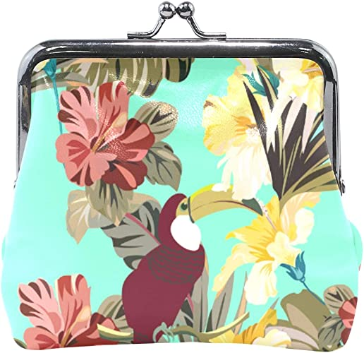 Coin Purse Tropical Plants Wallet Buckle Clutch Handbag For Women Girls Gift