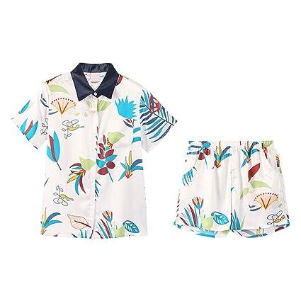 Pijamas de Verano de Las Mujeres Conjunto de Manga Corta Casual Seda Linda HUXIUPING (Color