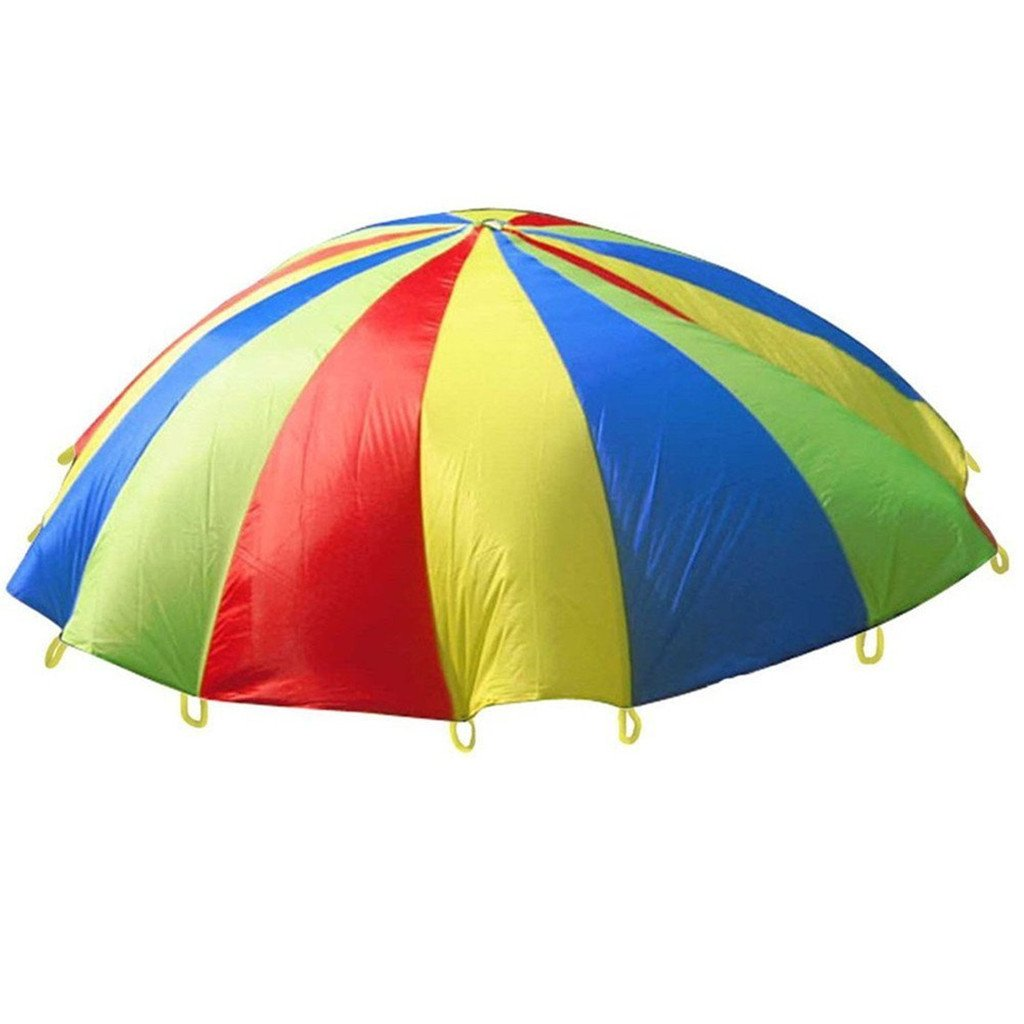 HMILYDYK Childrens Kids Sports Development Play Rainbow Umbrella Parachute with Handles for Kids Tent Play, Outdoor Indoor Family Exercise Games (2M) (3.5M)
