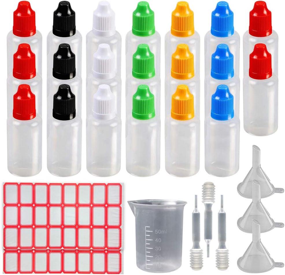Botellas cuentagotas 20Pcs 30ml / 1oz Botella de líquido de punta fina exprimible de plástico con tapón a prueba de niños (botella transparente + tapa multicolor)