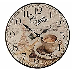 Whole House Worlds The Parisian Coffee Wall Clock for Coffee Lovers, Glass, Quartz Movement, Antique Café Style