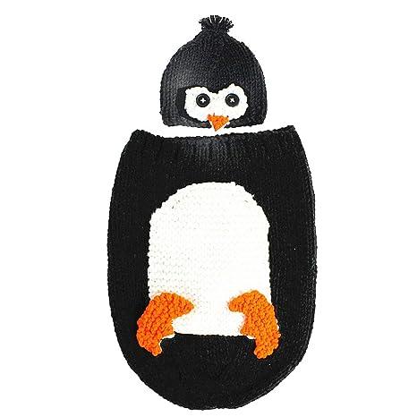 Fornateu Adorable del pingüino bebé recién Nacido Ganchillo Hecho a Mano de Punto Saco de Dormir