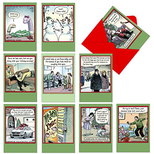 (10 Hilarious 'Bizarro by Piraro' Merry Christmas Cards 4.63 x 6.75 inch - Assorted and Boxed Cartoon Holiday Cards with Envelopes - Funny Bulk Xmas Greeting Card Stationery for Family, Friends A1256)