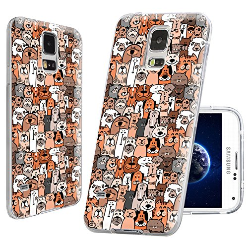 S5 Case,Samsung S5 Case,Galaxy S5 Case,ChiChiC full Protective Case Art slim durable Soft TPU Cases Cover bump for Samsung Galaxy S5 I9600,cute animal doodle brown dogs and cats smile pet