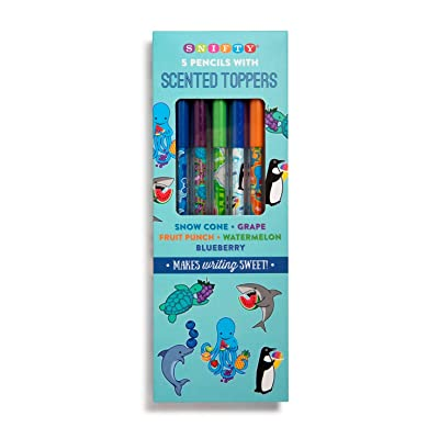 Red Co. Aquarium Themed Graphite Pencils with Scented Toppers, 5-Pack - Fruit Punch, Blueberry, Grape, Snow Cone, Watermelon: Toys & Games