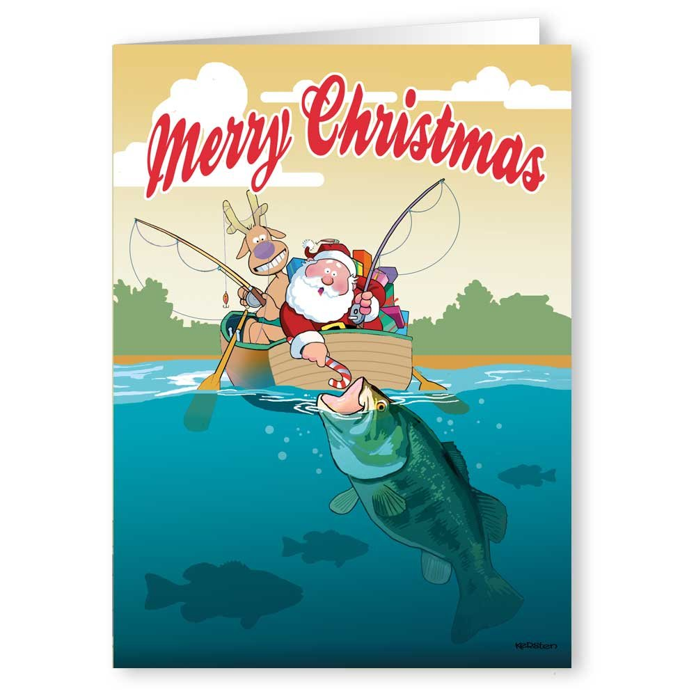 com santa fishing in boat christmas card cards envelopes health personal care