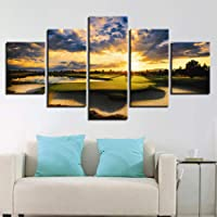 Canvas painting Wall artist residence decoration sunset golf course canvas painting sunrise landscape poster 5 pictures living room decoration frame decorative painting-30CMx40/60/80CM