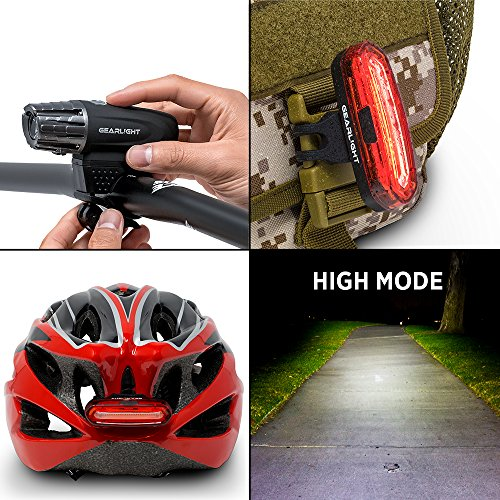 GearLight S300 Rechargeable LED Bike Light Set - High Lumen Front and Back Rear Cycling Safety Lights - Best All-Weather USB Headlight and Tail Light for Kid and Adult Bicycles by GearLight (Image #6)