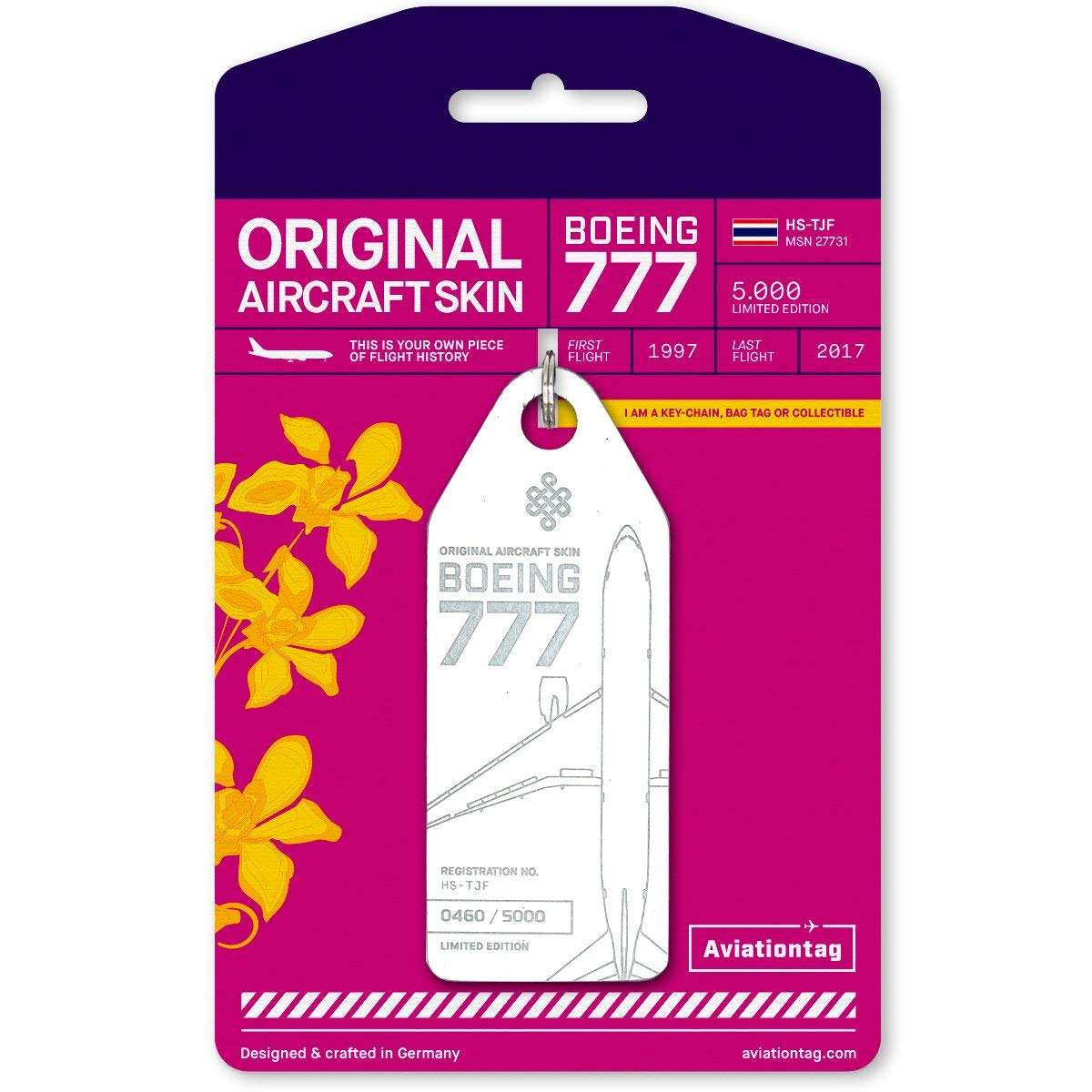 AVT040 AviationTag Boeing 777-200 Reg #HS-TJF (Thai Airways) White Original Aircraft Skin Keychain/Luggage Tag/Etc with Lost & Found Feature by AviationTag