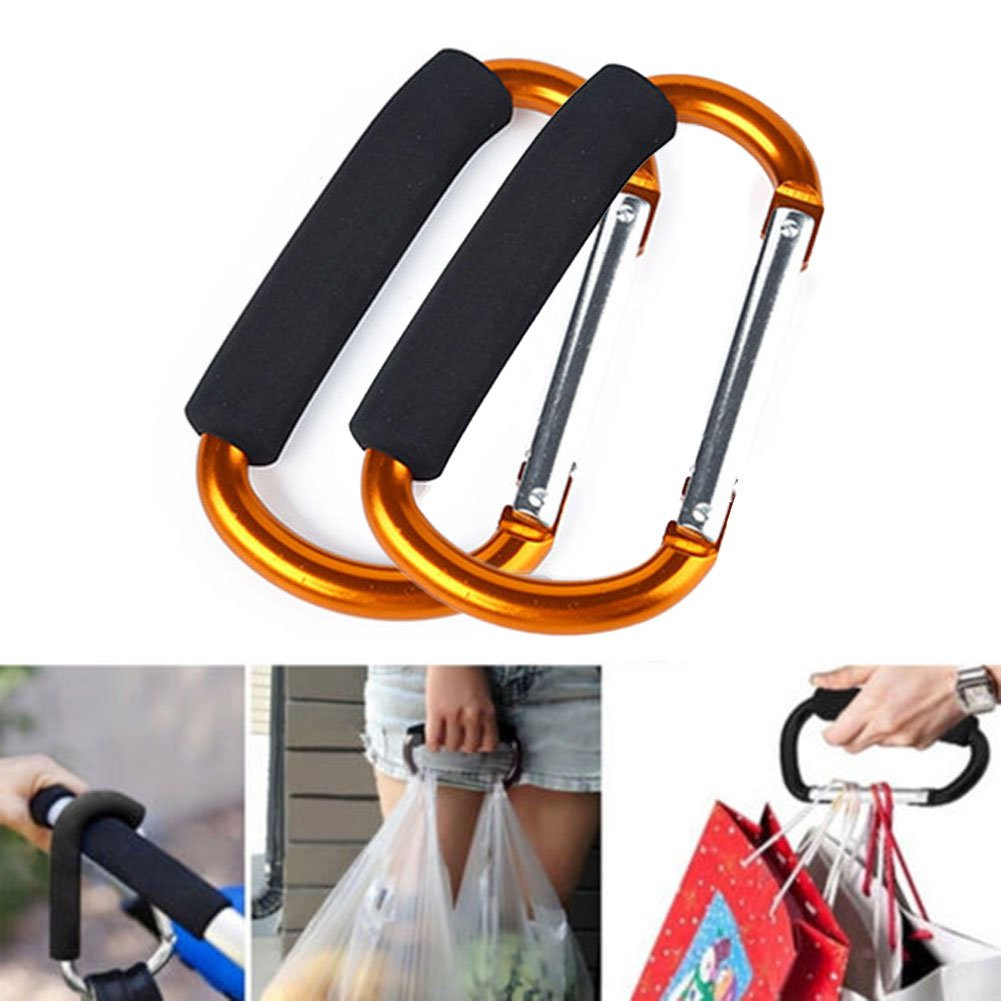 2Pcs Hook for Shopping Bags Pram Clips Strong Durable Large Buggy Carabiner Clip Mummy Shopping Bag Stroller Pushchair Clip - 13.5cm (Black) wendayeturan