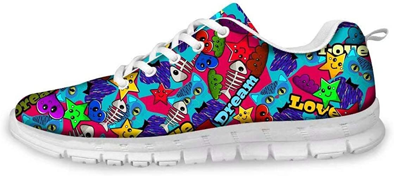 Dellukee - Zapatillas de Correr con Cordones para Mujer, diseño de Dibujos Animados, (Multi 3), 35 EU: Amazon.es: Zapatos y complementos