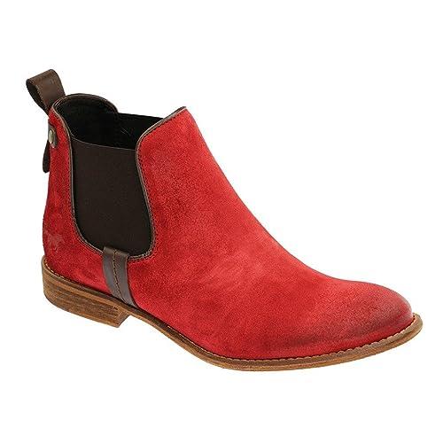 Mustang Chelsea Boot - Botines Chelsea de Cuero Mujer, Color Rojo, Talla 43