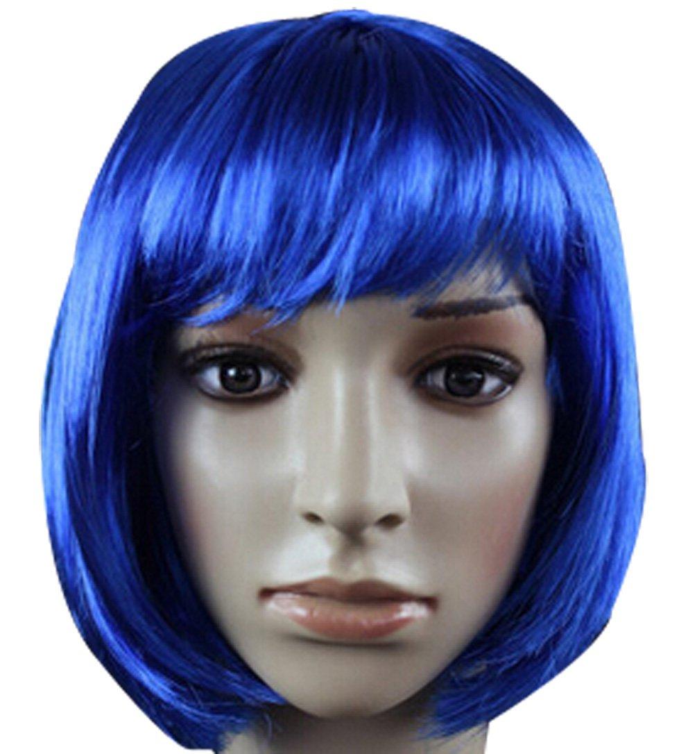 Fashion Cute COS Wigs for Children's Color Bobo Fluffy Short Straight Hair (dark blue)