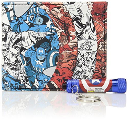 Marvel Men's Slimfold Wallet Gift Set With Flashlight Keychain, captain america icon, Total (Captain America Purse)