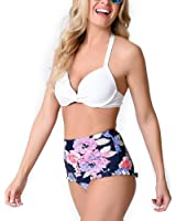 BuyBai Women's Sexy Halter Bikini Floral Print High Waist Swimsuit Bathing Suits