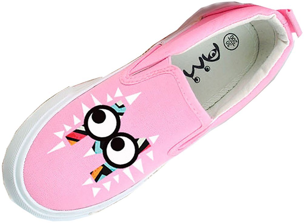 VECJUNIA Boy's Girl's Unique Cartoon Low-Top Platform Fabric Loafers For Sports (Pink, 12.5 M US Little Kid)