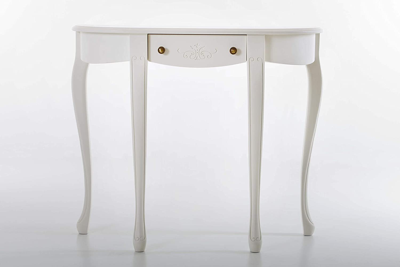 Amazon com panamar solid wood 1 drawer hardwood console table white finish kitchen dining