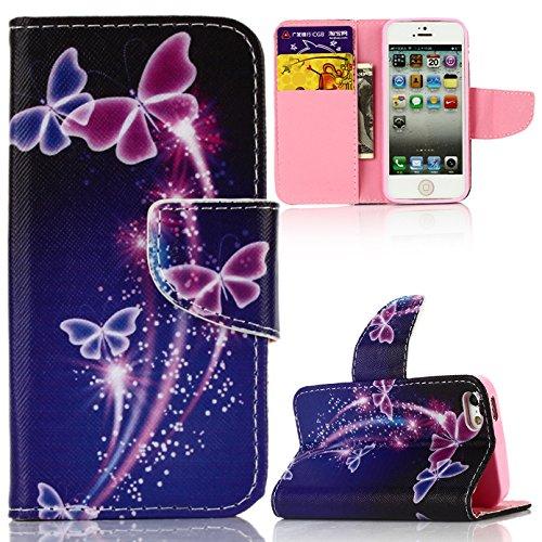 Voguecase® für Apple Iphone SE hülle, Kunstleder Tasche PU Schutzhülle Tasche Leder Brieftasche Hülle Case Cover (Tanzen Schmetterling 03) + Gratis Universal Eingabestift