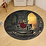 Gzhihine Custom round floor mat Gothic Decor Ancient Altar Holy Table in Castle Baroque Inspired Alchemy Wizard Design Bedroom Living Room Dorm Grey Yellow