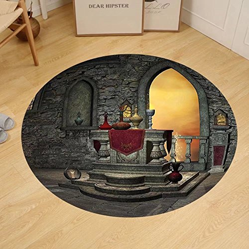Gzhihine Custom round floor mat Gothic Decor Ancient Altar Holy Table in Castle Baroque Inspired Alchemy Wizard Design Bedroom Living Room Dorm Grey Yellow by Gzhihine