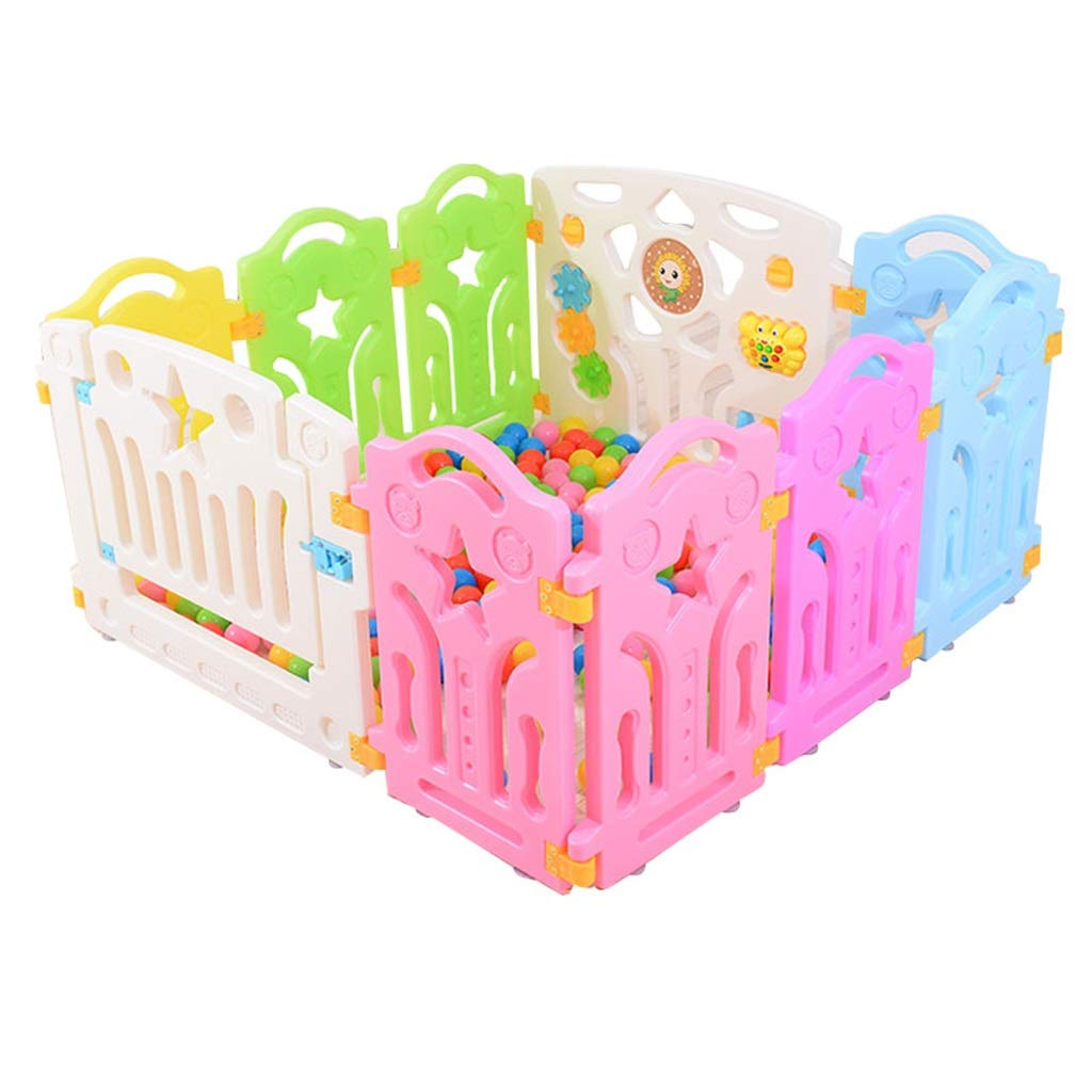 赤ちゃんベビーサークルキッズ子供安全フェンス10パネル/ 12パネル安全プレイセンターヤードホーム屋内屋外ペンプレイペン子供アクティビティ 8panel  B07R1LMFQL
