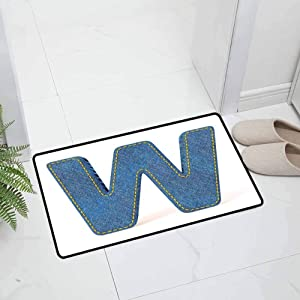Letter W Indoor Outdoor Kitchen Rugs and Mats Holiday Doormat Symmetrical Latin Letter Capital W with Blue Jean Typography for Entry and High Traffic Areas, 47 x 31.5 inch Blue Yellow