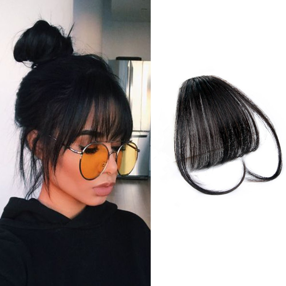 HIKYUU Natural Black Clip on Fringe Bangs Human Hair 100% Remy Real Brazilian Human Hair Neat Front Air Bangs Extensions with Temples