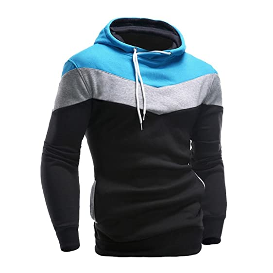 Amazon.com: XUANOU Men Retro Hooded Sweatshirt Long Sleeve ...