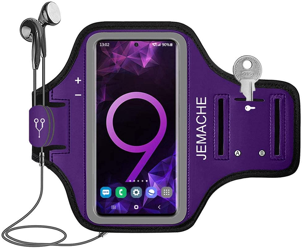 Galaxy S20+ S10+ S9+ S8+ Armband, JEMACHE Gym Running Workouts Arm Band Case for Samsung Galaxy S20 Plus/S10 Plus/S9 Plus/S8 Plus with Key Holder Pouch (Purple)