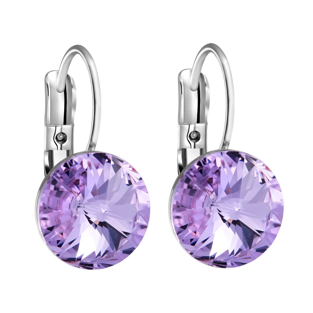 Gorgeous Special Magical Large Stud Style Lavender Purple Sparkling Crystals Silver-Tone Fashion Earrings