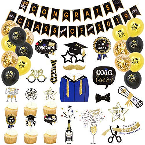 (55 PCS) Graduation Decorations Kit Congrats Class of 2019 Banner 24 Pcs Graduated Cupcake Topper 15 Pcs Black with Gold Confetti Latex Balloons 14 Pcs Photo Booth Props -