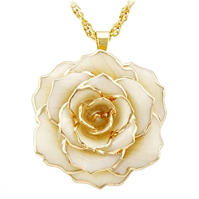 Amazoncom DEFAITH 30mm 24K Gold Dipped Rose Necklace with 18