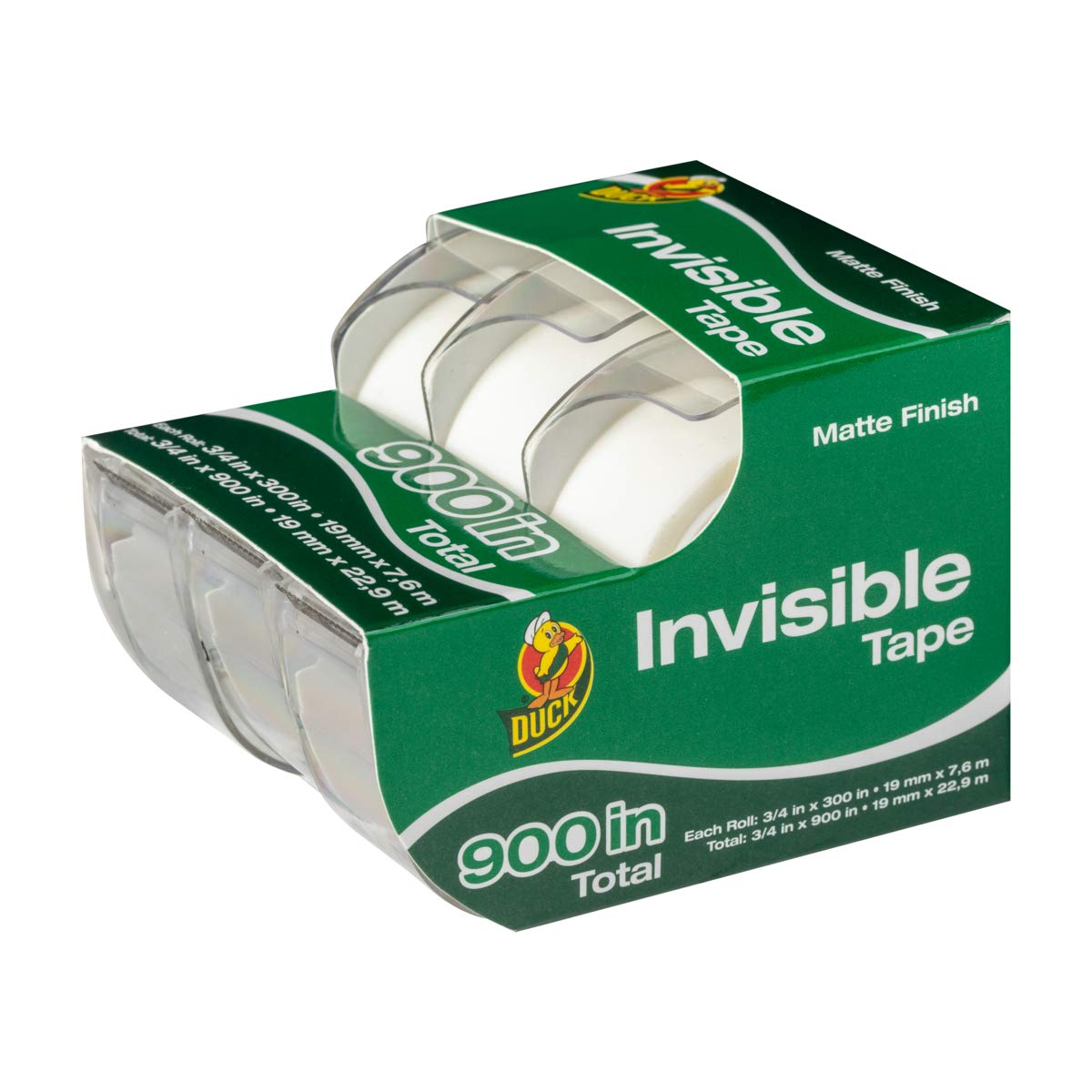 10 Rolls Duck Brand Matte Finish Invisible Tape Refill for Dispenser Each Roll 3//4-Inch x 1000 Inches for 10000 Total Inches