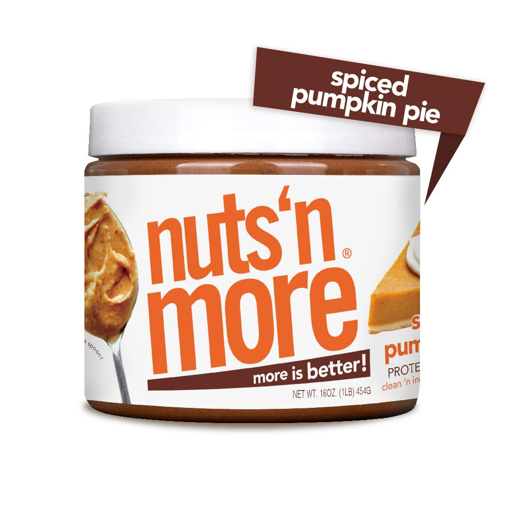 Nuts 'N More Spiced Pumpkin Pie Peanut Butter Spread, All Natural High Protein Nut Butter Healthy Snack, Omega 3's, Antioxidants, Low Carb, Low Sugar, Gluten-Free, Non-GMO, no preservatives,16 oz Jar
