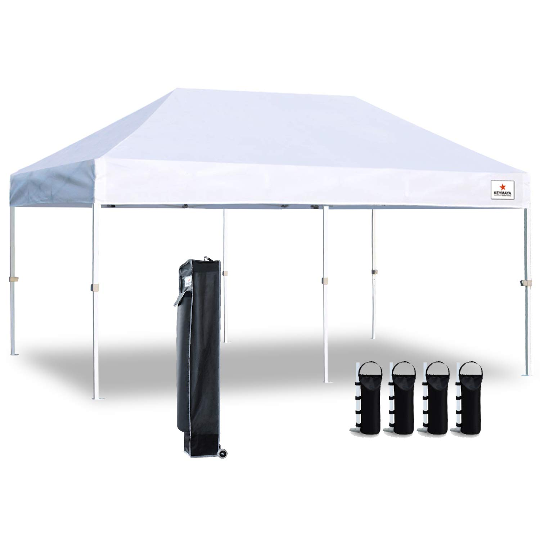 Keymaya 10'x20' Ez Commercial Instant Tent Heavy Duty Pop-up Canopy Shelter Bonus Weight Bag 4-pc Pack (White)