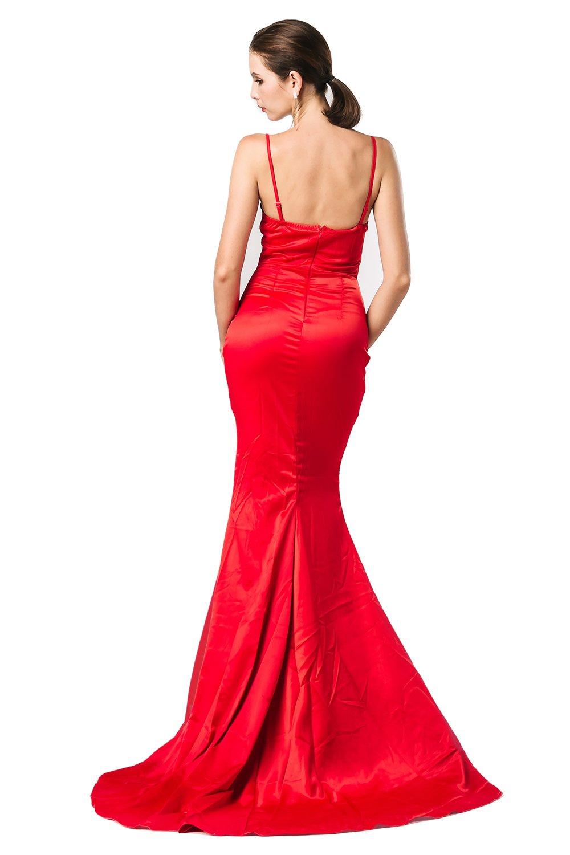 Missord Women's Bra Strapless Prom Maxi Dress Medium Red by Miss ord (Image #4)