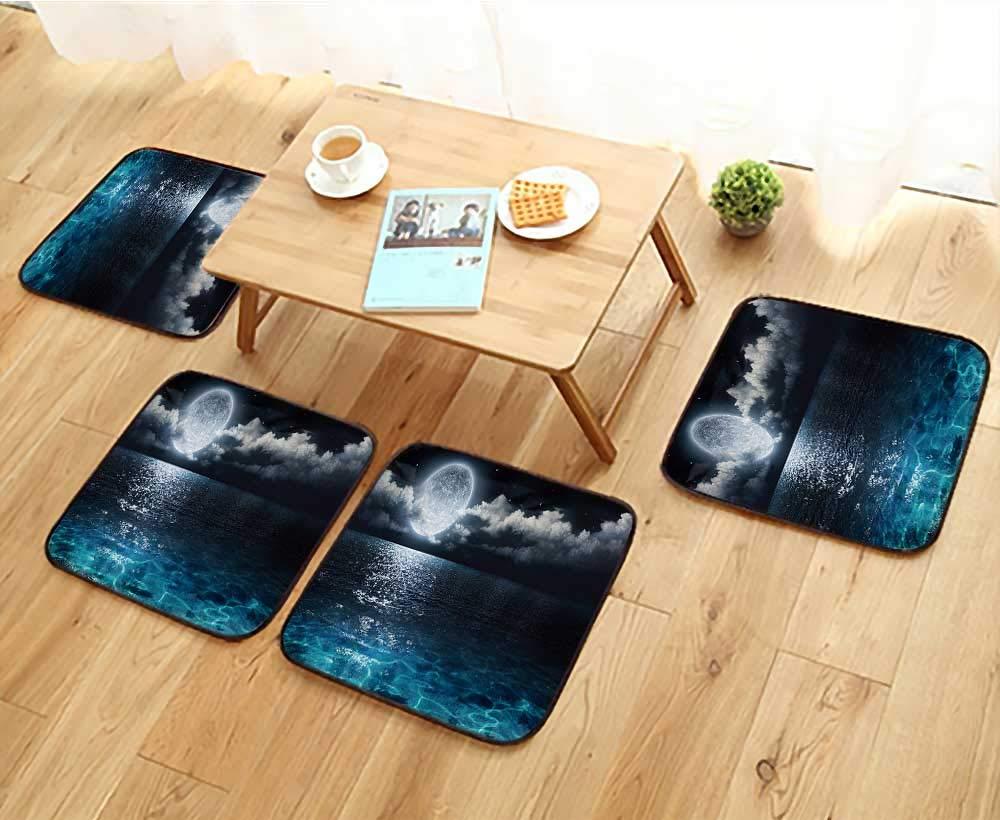 Jiahonghome フィレットチェアクッション 空と海に最適 椅子用 幅13.5×長さ13.5/4点セット W25.5