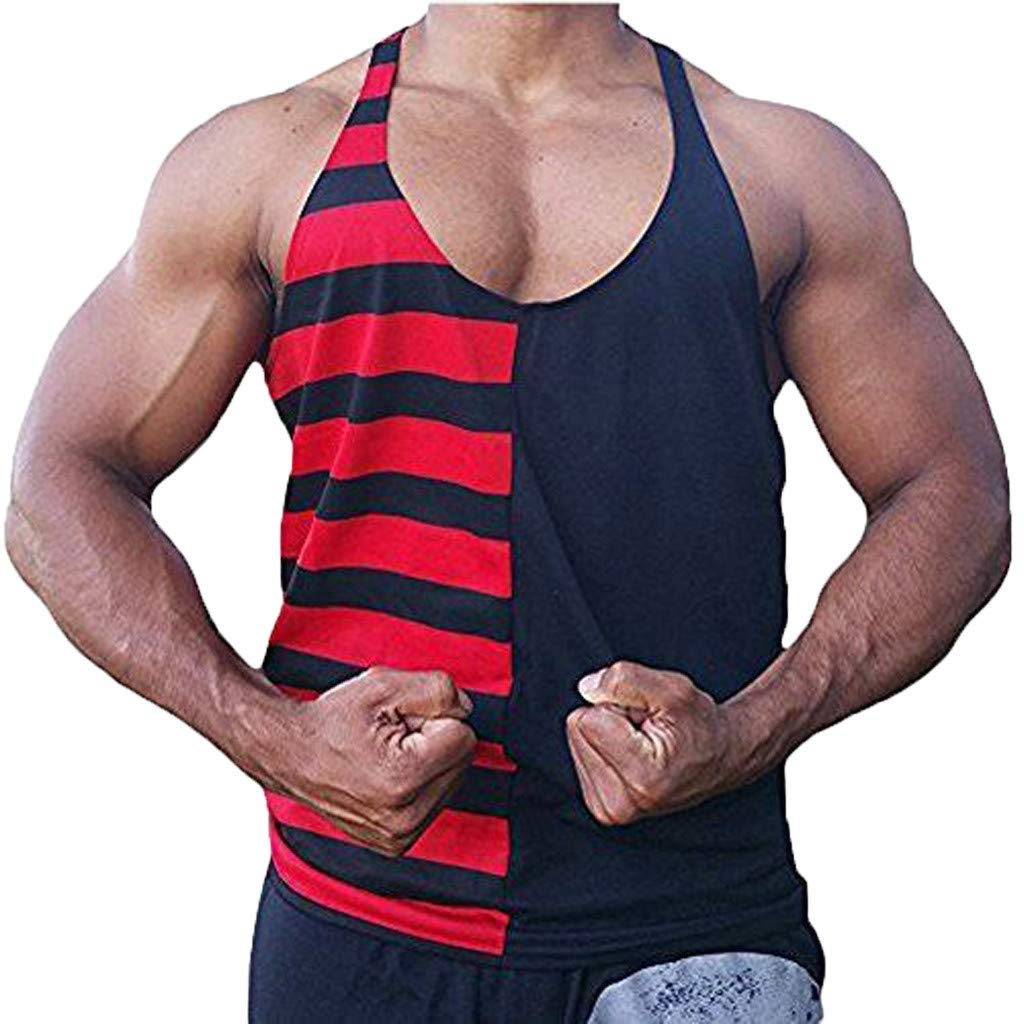 IZHH Mens Tank Tops Striped Printing Sleeveless T Shirts Leisure Sport Tops Running Vest Slim Summer Sweatshirt New
