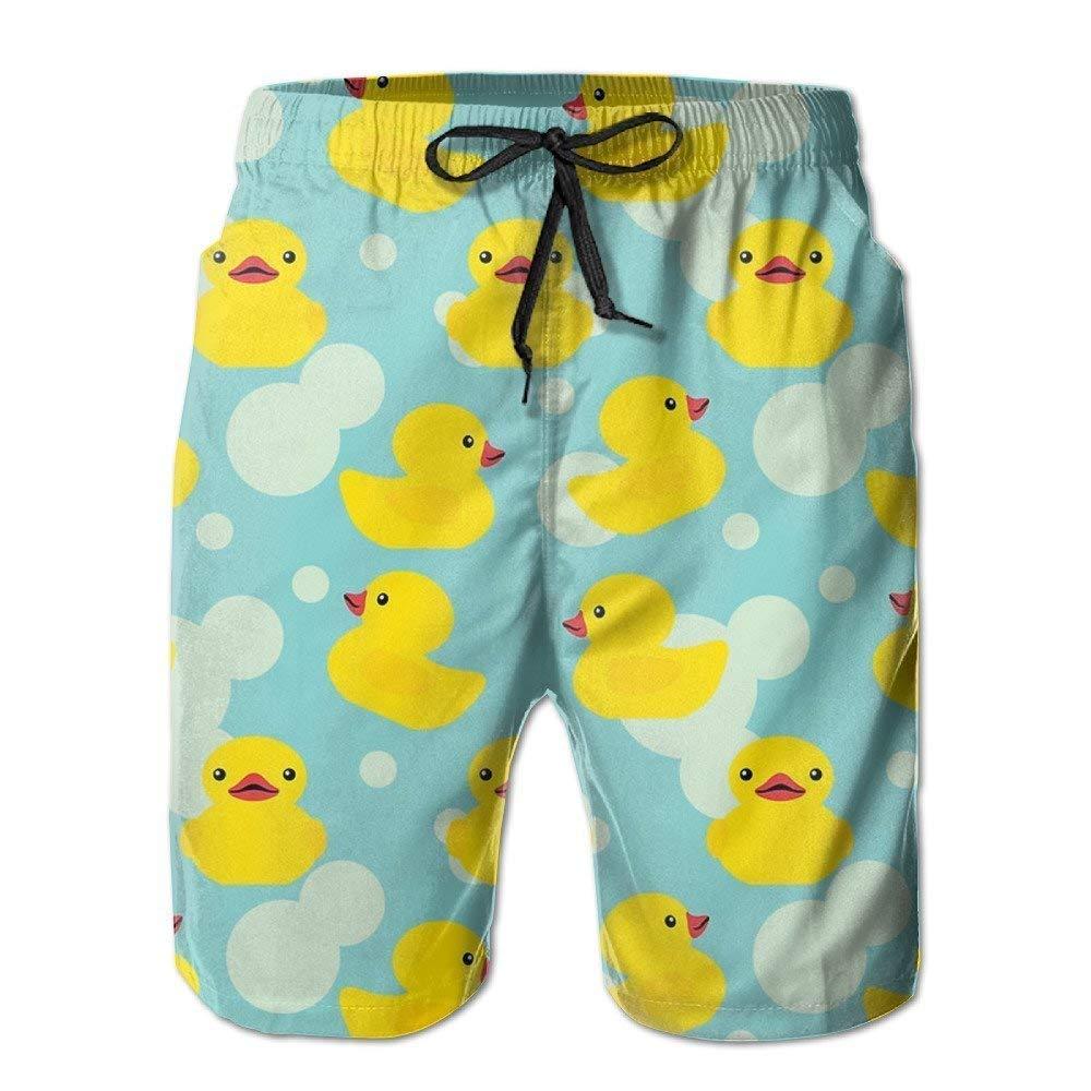 Mens Small Yellow Duck Summer Swim Trunks Beach Shorts Board Cargo Shorts Quick-DrTrikahan