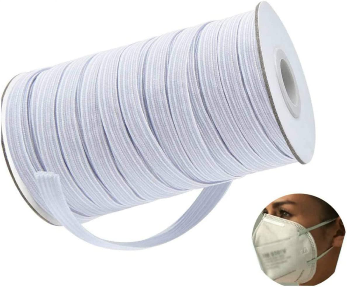 100 Yards Braided Elastic 1//4 inch Heavy Stretch Strap Roll White Elastic String Cord for Sewing and Crafting Elastic String for Masks