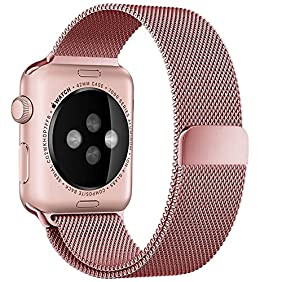 Electrobuyonline Milanese Loop Stainless Steel Bracelet Strap Replacement Wrist Band with Magnet Lock for series 1,series 2 for Apple Watch iwatch band (Rose Gold 42mm)