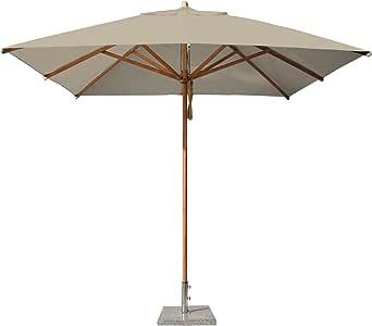Bambrella Levante 2.6m Square Parasol in Khaki - Pulley Operated - Fabric Parasol - Khaki Canopy - Square Shaped Parasol - Bamboo Parasol Pole