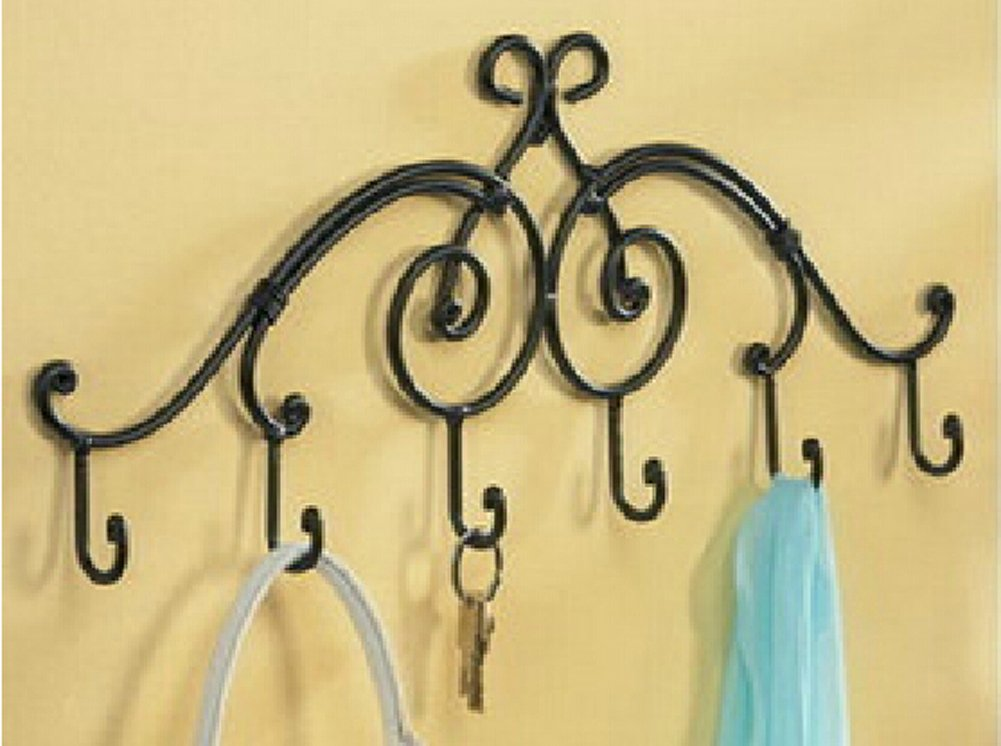 Wrought Iron Wall Keys Hanging Mount 6 Hook Rack Bathroom Shelf Towel Rack Wall rack