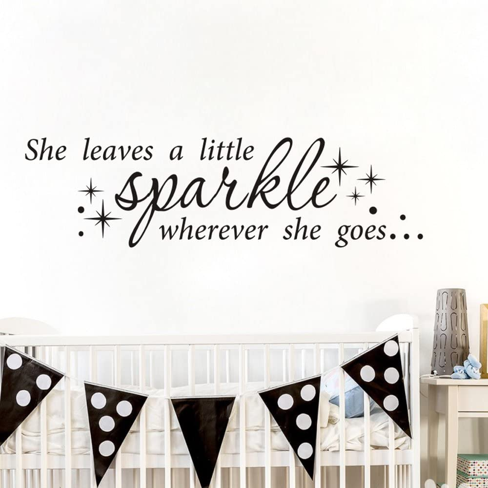 MoharWall Kids Room Wall Decals Inspirational Quotes Wall Sticker for Girls Vinyl Art Decor Lettering Saying - She Leaves a Little Sparkle Wherever She Goes 34''WX9''H