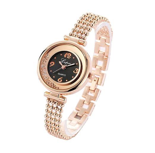 Reloj de moda de pulsera diamantes cristales de imitación. Reloj pulsera de cuarzo de acero