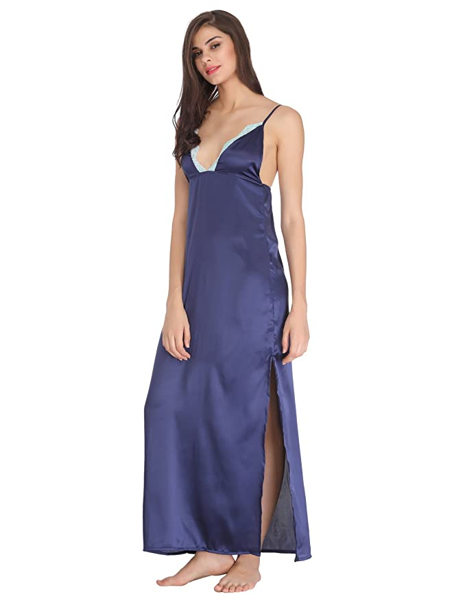 Clovia Women s Full Length Satin Nighty with Lace Work - Blue  (NS0698P08 Blue X-Large)  Amazon.in  Clothing   Accessories f8b25fd5c