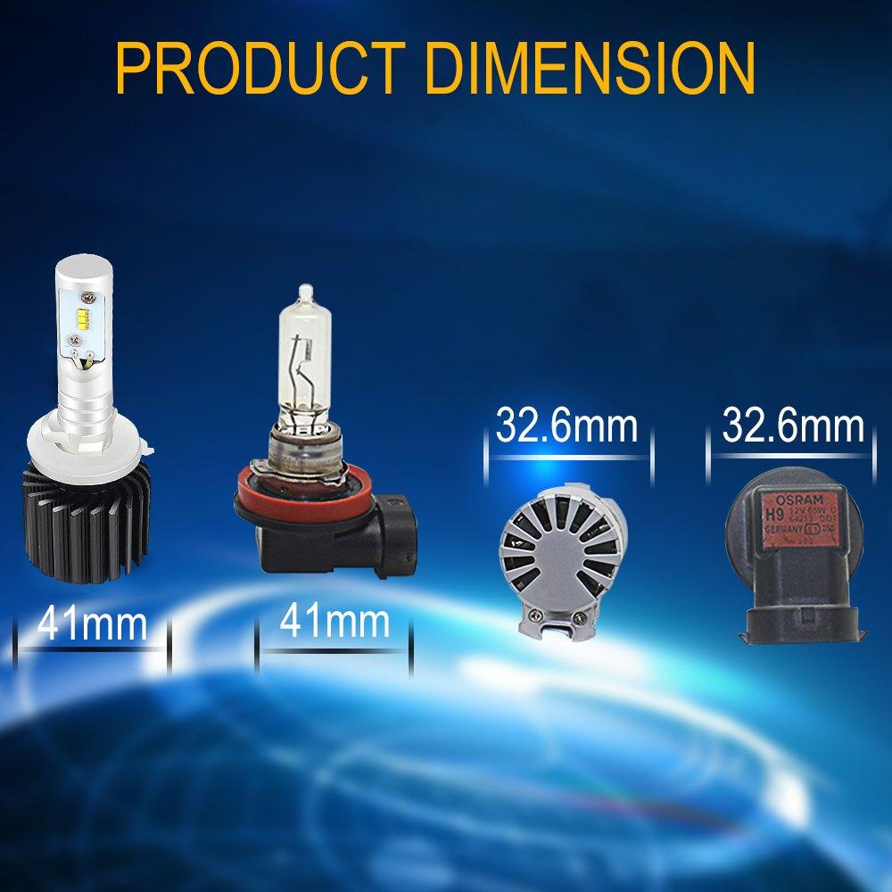 AUSI Ampoules phare LED 881 Conduire lampe anti brouillard  PHILIPS chips 12000LM 6500K /éclairage blanc pur avec Kit de conversion remplacement des ampoules dorigine
